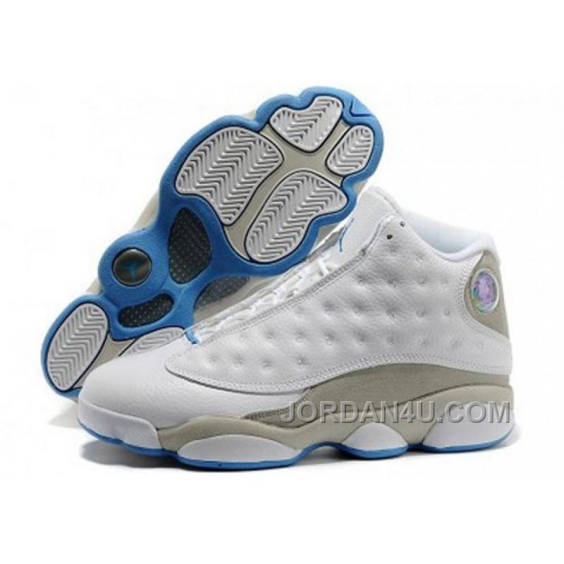 wholesale dealer dbf3a 1df3f 310004-103 Men's Nike Air Jordan 13 Shoes Anniversary White/Neutral  Grey-University Blue Discount EykEE7