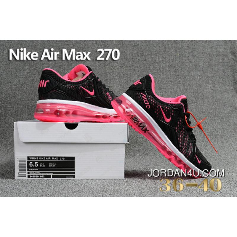 Nike Air Max 270 Pink Black 849559 992 Max270 Running Shoes Outlet