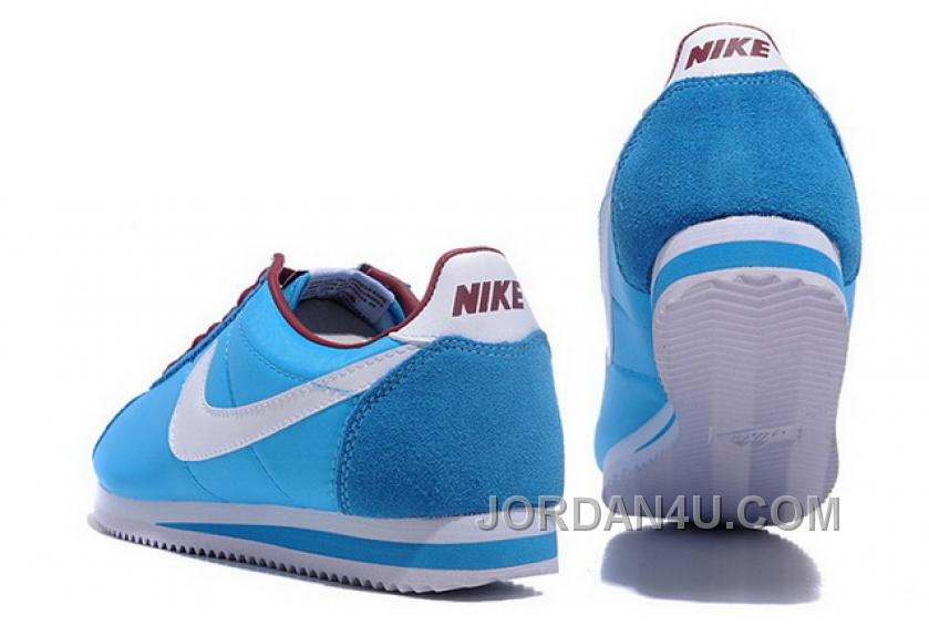 887f64c8a4d Nike Classic Cortez Nylon Women Light Blue White Red Shoes Discount EpETHC